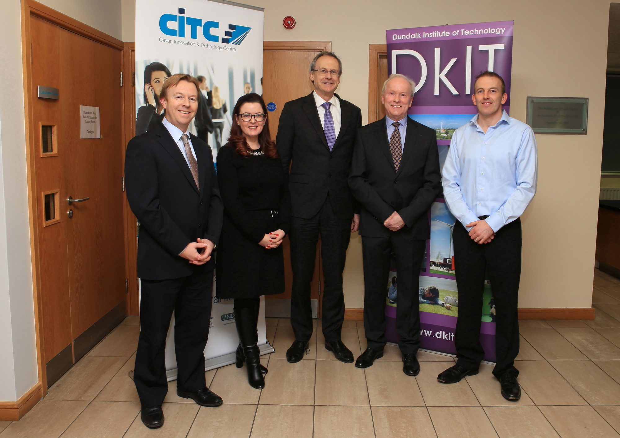 Pictured (l-r) are Anton Barrett, Head of Lifelong Learning, DkIT; Marcella Rudden, Head of Enterprise, Cavan Local Enterprise Office; Michael Mulvey, PhD, DkIT President; Vincent Reynolds, Chief Executive, Cavan Innovation & Technology Centre and Neil Larkin, DkIT Lecturer at the launch of the new Cert in Data Analytics for Business course at CITC.